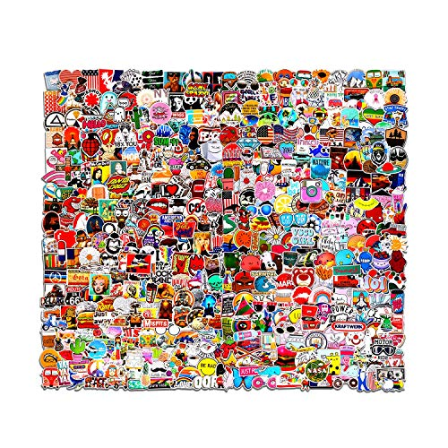Flyzoo 500 Pcs Stickers Pack for Skateboard, Random Vinyl Laptop Skins Suitable for Children and Teens of All Ages, Cool Decals for Water Bottle, Snowboard, Van Car, Phone Case