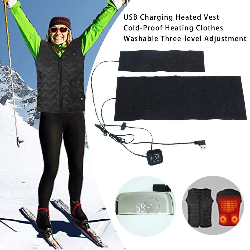 Leiyini Gilet elettrico riscaldato Ricarica USB Gilet riscaldato A prova di freddo Abbigliamento riscaldabile Lavabile Regolazione a tre livelli per sci allaperto Escursionismo Moto Viaggi Motoslitta