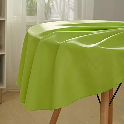 Deconovo Nappe Vert Ronde Impermeable Nappe Exterieur Decoration 130cm pour  Table Salon de Jardin Nappe Polyester