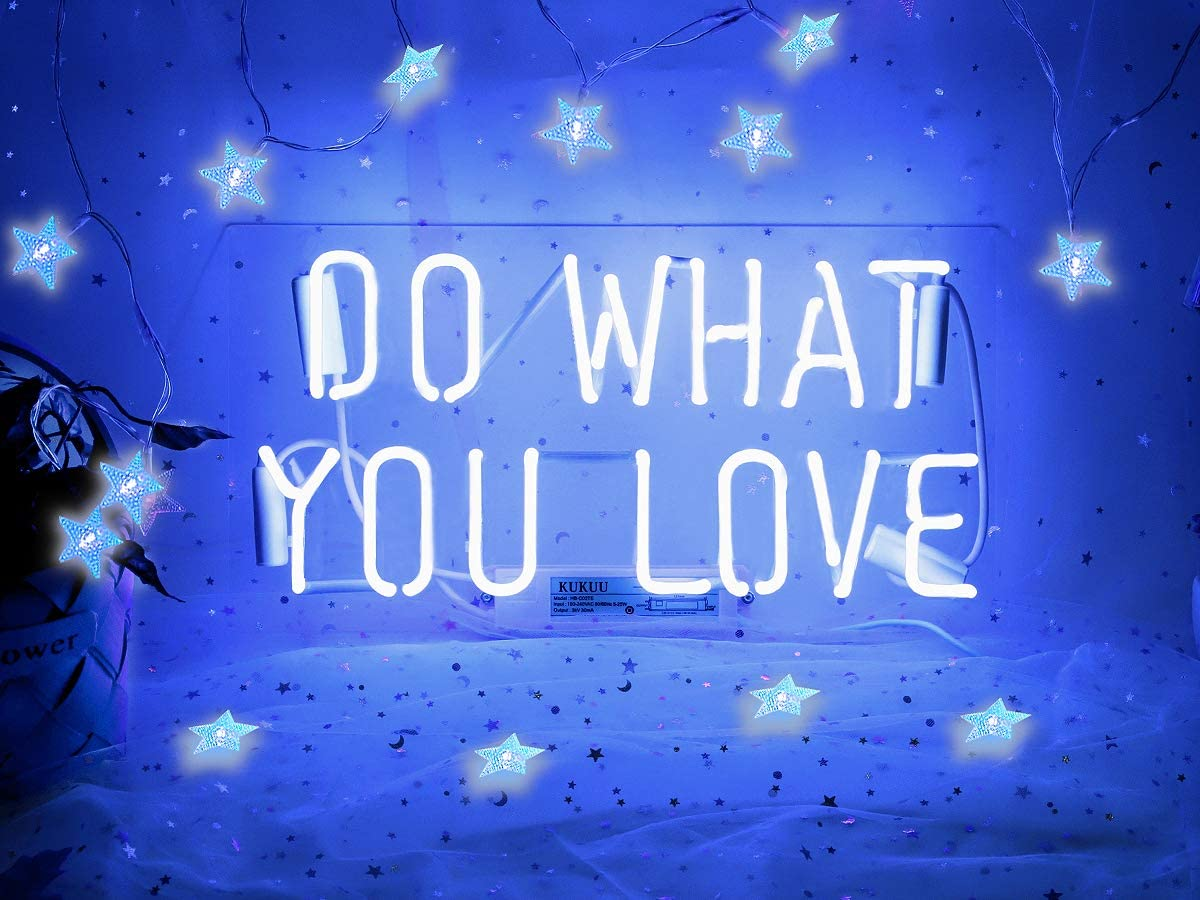 Neon Signs Do What You Love Blue Neon Light Sign Real Neon Sign Wall Sign Neon Lamp Art Decorative Light Signs Neon Words Custom for Home Bedroom Room Decor Office Halloween Party Wedding Holidays