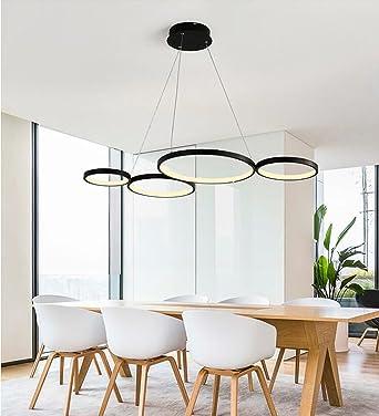 LED Pendelleuchte Modern 4 Ring Design Hängeleuchte Wohnzimmer Hängelampe  Esstisch Lampe Decke Beleuchtung Leuchte Auminium Und