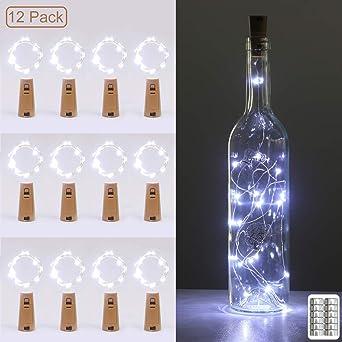 luz de Botella, Kolpop luz Corcho, luces led para Botellas de Vino 2m 20 LED a Pilas Decorativas Cobre Luz para Romántico Boda, Navidad, Fiesta, Hogar, Exterior, Jardín,Blanco Frio(12 Pack): Amazon.es: Iluminación
