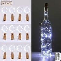 luz de Botella, Kolpop luz Corcho, luces led para Botellas de Vino 2m 20 LED a Pilas Decorativas Cobre Luz para Romántico Boda, Navidad, Fiesta, Hogar, Exterior, Jardín,Blanco Frio(12 Pack)