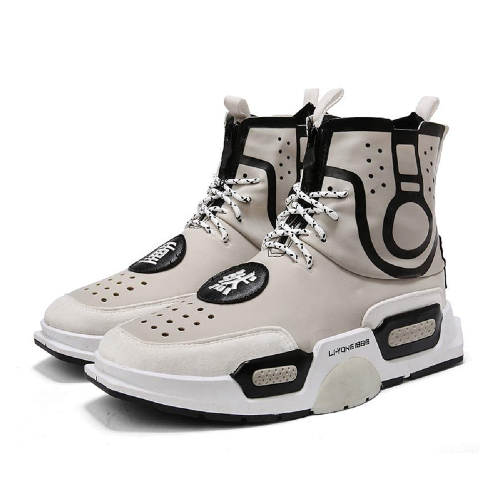 HhGold Männer in Breathable Casual Turnschuhe High-Top-Schnürschuhe Laufschuhe Trend Board Schuhe (Farbe   Grau, Größe   6.5UK(Foot Length 26cm))