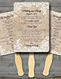 Personalized Wedding fans/Wedding fans for guests/Wedding program fans/Wedding favors/Rustic Wedding/Burlap and Lace, Set