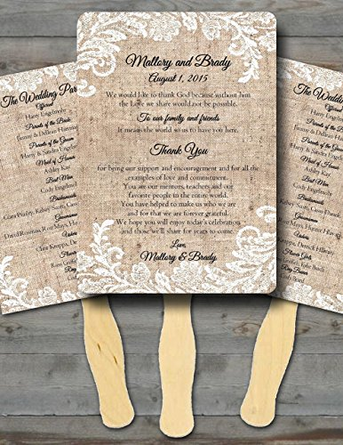 Personalized Wedding fans/Wedding fans for guests/Wedding program fans/Wedding favors/Rustic Wedding/Burlap and Lace, Set of 20 -