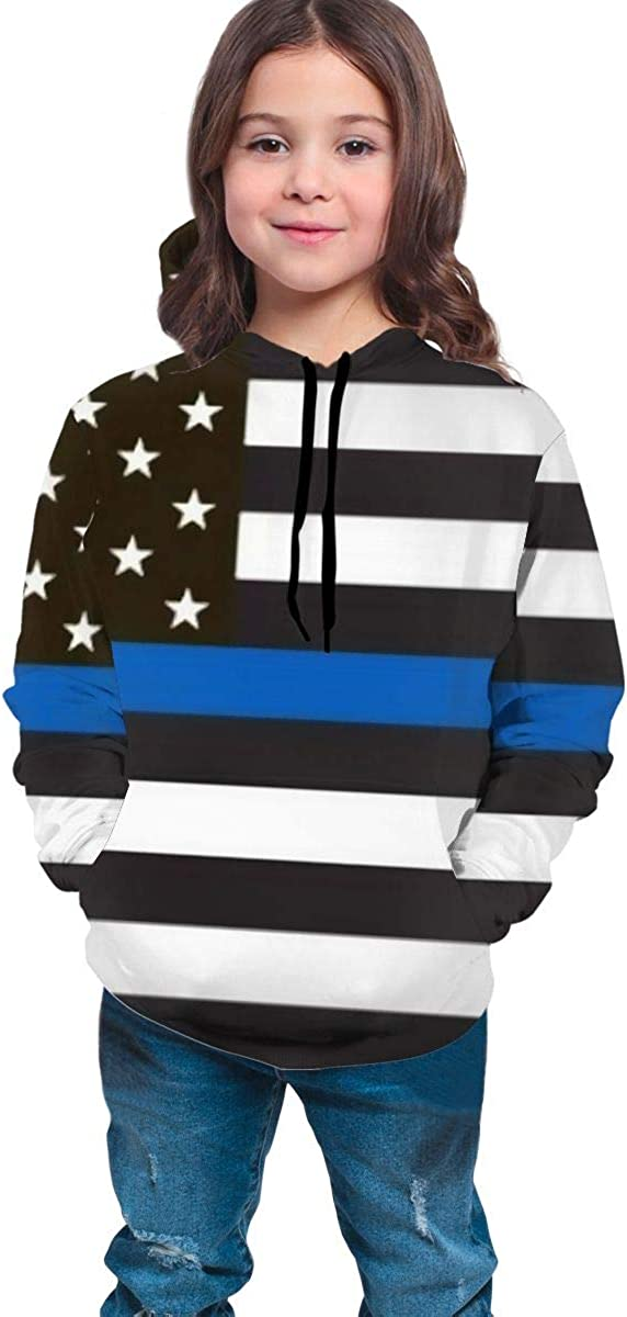 Blue Thin Line USA Flag Teenager Hooded Sweate Pullover Drawstring Pocket Novelty Coat for Student