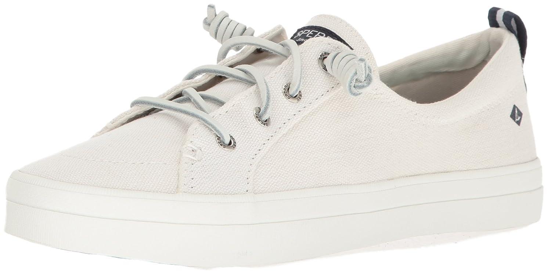 White Sperry Crest vibe sneaker
