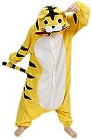 BELIFECOS Unisex Adult Pajamas Plush One Piece Cosplay Animal Costume Tiger