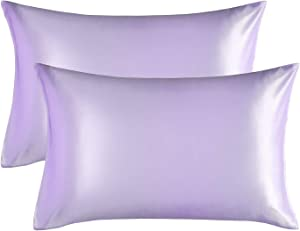 Bedsure Satin Pillowcase for Hair and Skin, 2-Pack - Queen Size (20x30 inches) Pillow Cases - Satin Pillow Covers with Envelope Closure, Lavender