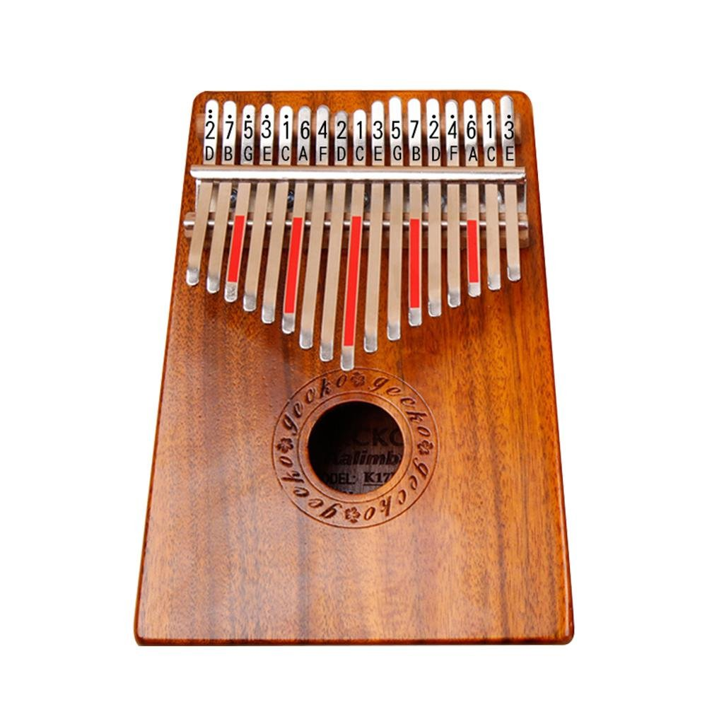 Aolvo K17M Kalimba Thumb Piano 17 Keys with Instruction and Tune Hammer, Portable African Finger Percussion Keyboard Electric Kalimba Thumb Nature Sound Piano Toy Gift - Mahogany
