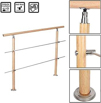Froadp - Pasamanos de aluminio con tacos de metal y 2 postes, impresión térmica, vetas de madera, superficie para barandillas, escaleras, balcón: Amazon.es: Bricolaje y herramientas