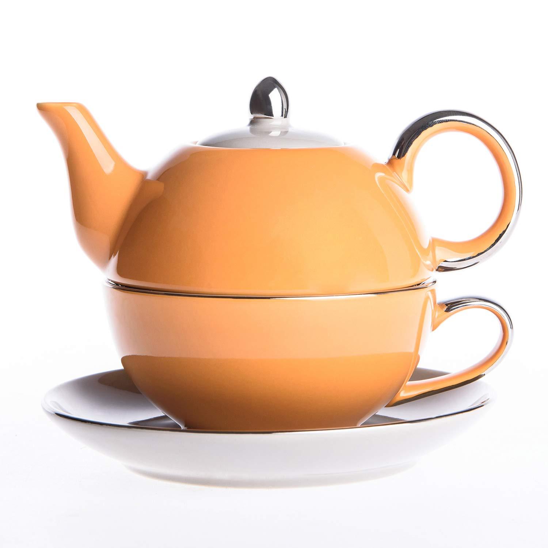 Acquisto Artvigor, Tea for One Teapot And Cup Servizio da tè in Porcellana Teiera Set con Tazza e Piattino Teiere Caffettiere Ceramica 3 Pezzi per 1 Persona Arancione&Grigio Prezzi offerta