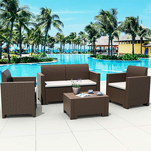Tangkula 4-Piece Patio Furniture Set, Made in Italy Outdoor Wicker Conversation Set w/Removable Cushion Sectional Sofa Set, for Backyard Porch Garden Poolside Balcony (Coffee)