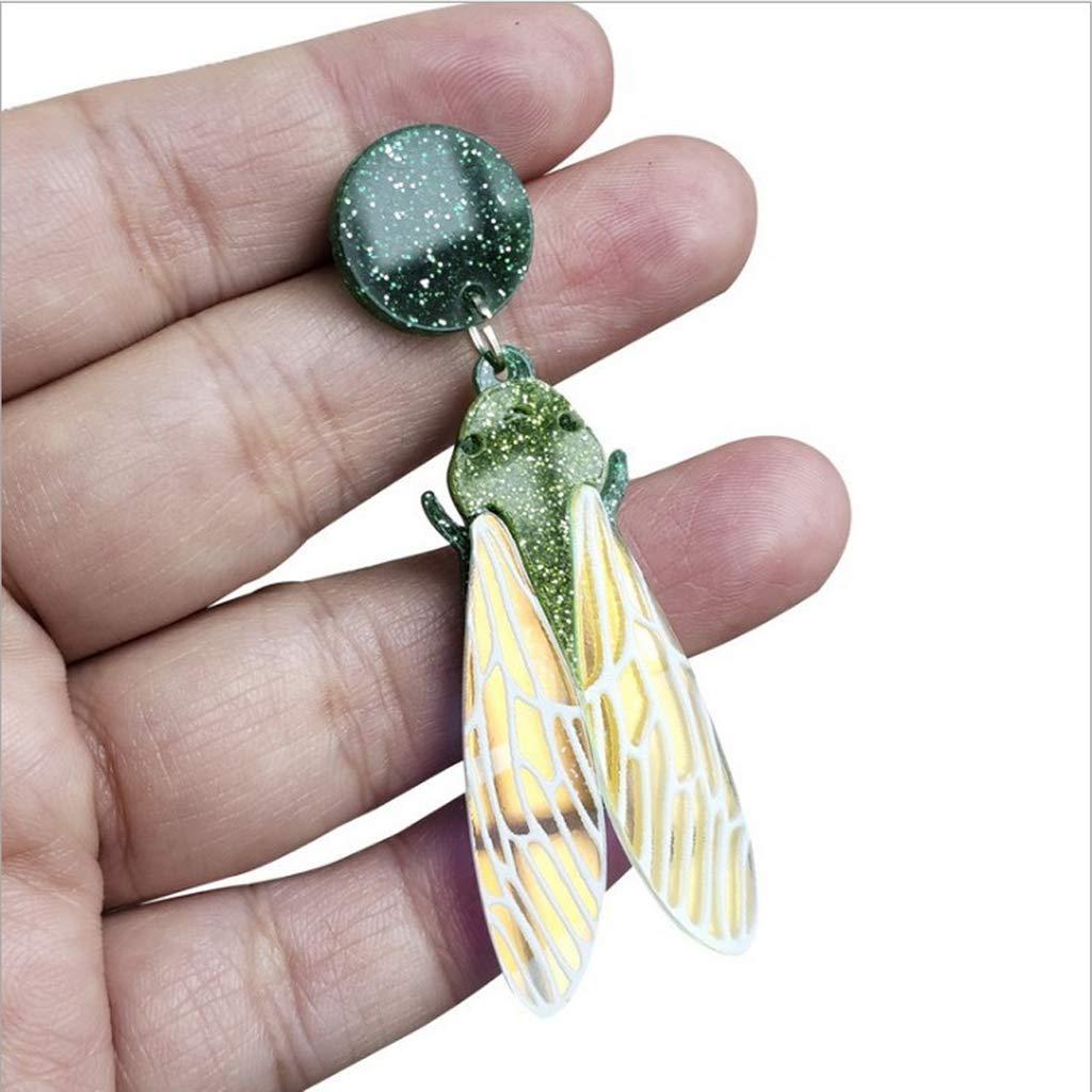 Ruzida Acrylic Insect Drop Earrings Women Lovely Cicada Glitter Wings Dangle Earrings