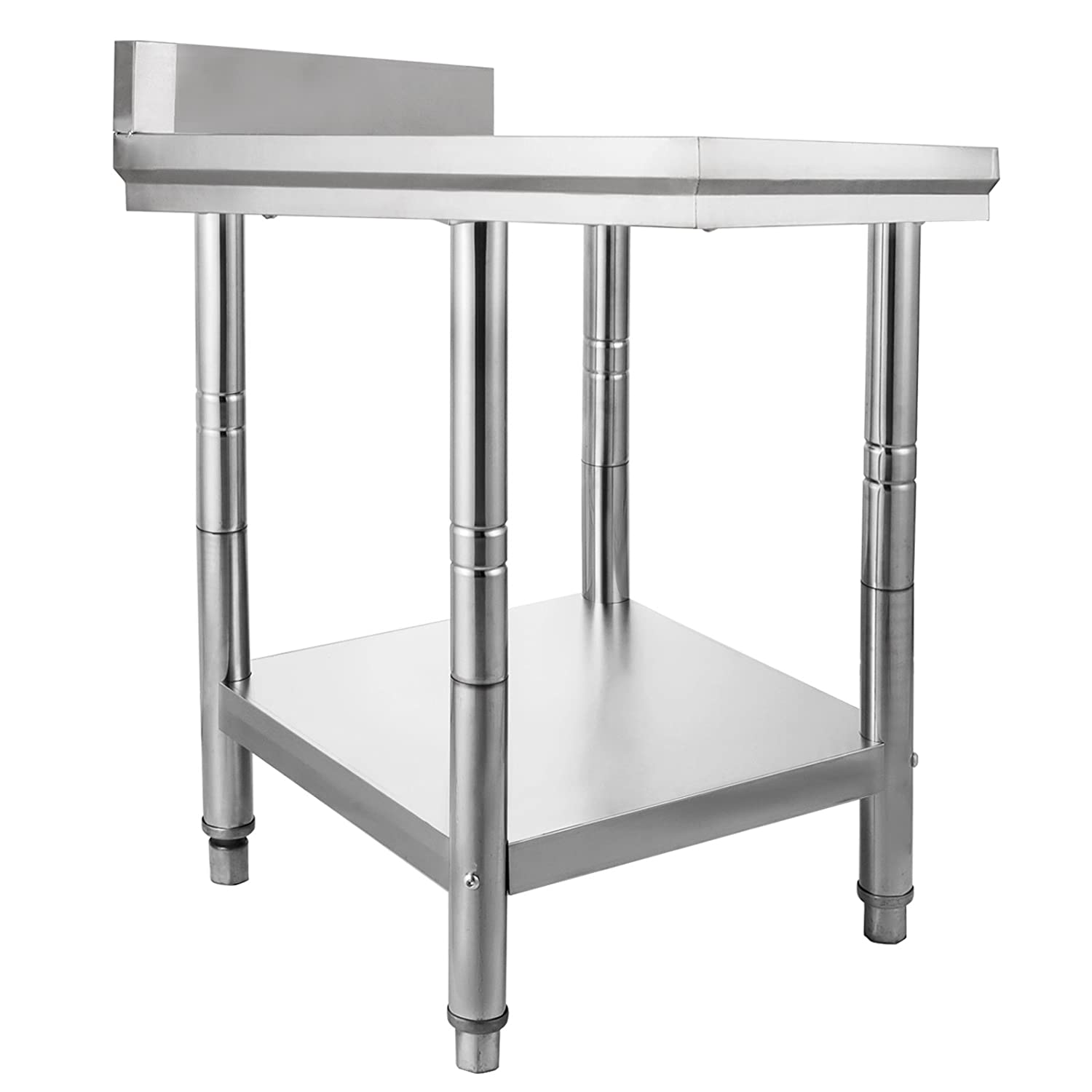 FORAVER 24 x 24 x 32 inches NSF Stainless Steel Work Table for Commercial Kitchen Prep Work Table 60X60X80cm with Lower Shelf Work Table Silvery for Commercial Kitchen Restaurant(60x60x80)