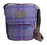 Wild Scottish Deerskin Designer Leather Authentic Purple Tartan Check Harris Tweed Cross Over Bag