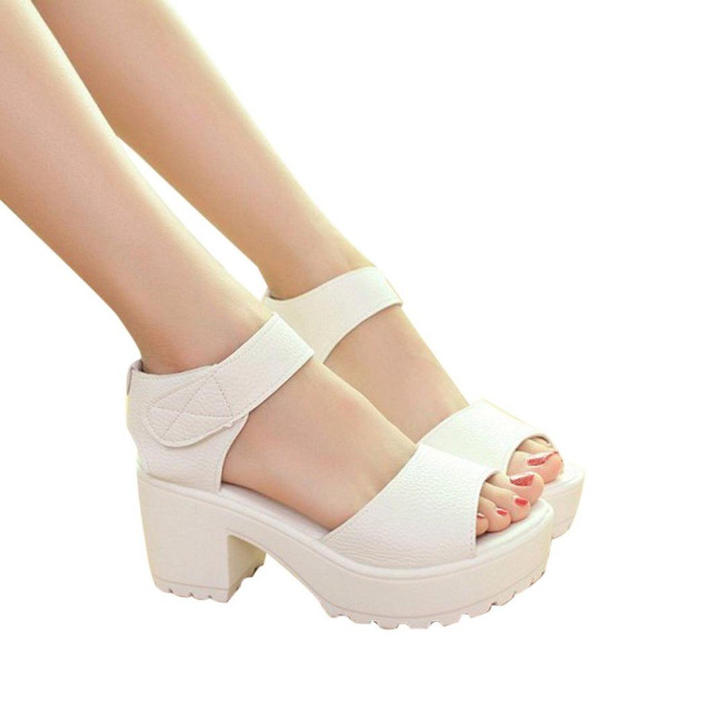 Creazrise Women Summer Open Toe Chunky Shoes Platform High Heel Gladiator Sandals White
