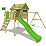 FATMOOSE Stilt house FunFactory Fit XXL climbing frame treehouse playhouse with swing set and apple green slide