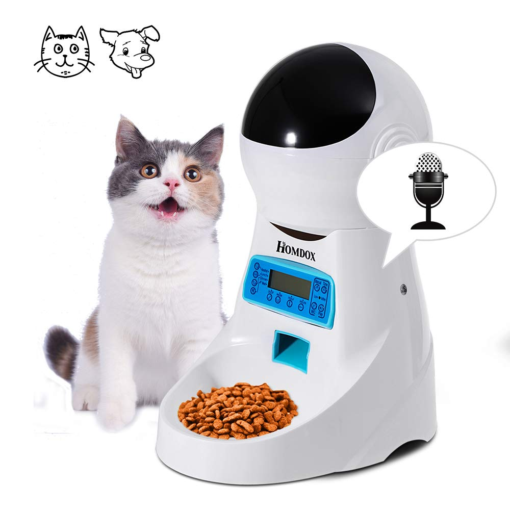Homdox Automatic Pet Feeder Food Dispenser 4 Meal for Cat Dog Timer Programmable for Small Middle Big Size Pet Cat Dog