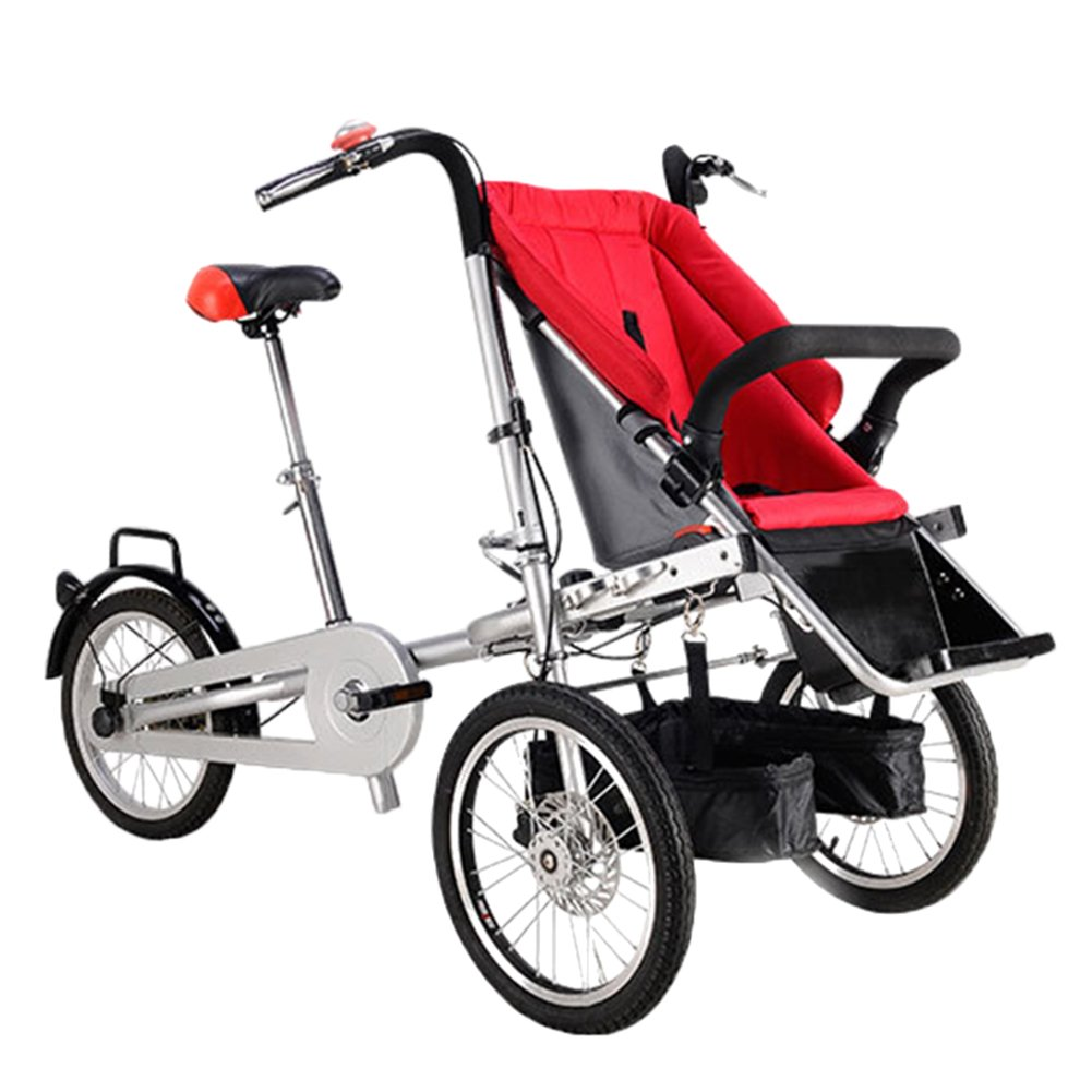 Nice Days(ナイス ディズ)  折りたたみ式 ベビーカー 三輪車 両用 ベビーバギー 三輪自転車  (赤) B073RDPWJ3赤