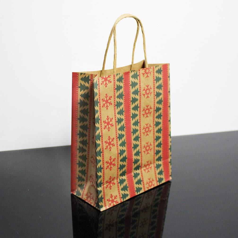 STOBOK Kraftpapiert/üten Weihnachten Bedruckte Mustert/üten mit Henkel f/ür Weihnachtsartikel-12er Pack