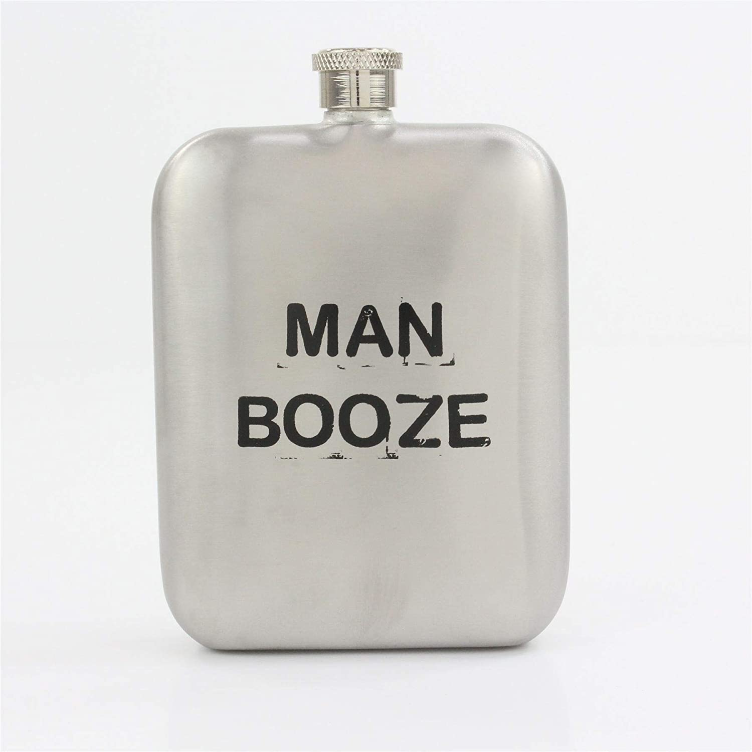 Silver square MAN BOOZE Hip Flask 5.5oz with Screw Top Lid for a Jolly Gift