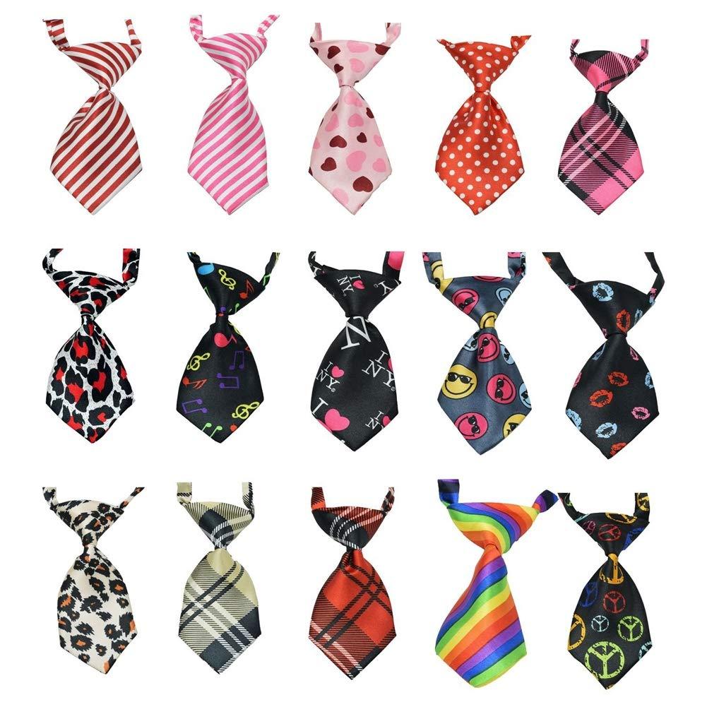 15 Pcs Pack Cat Dog Bow Tie Collar,Adjustable Pet Neckties