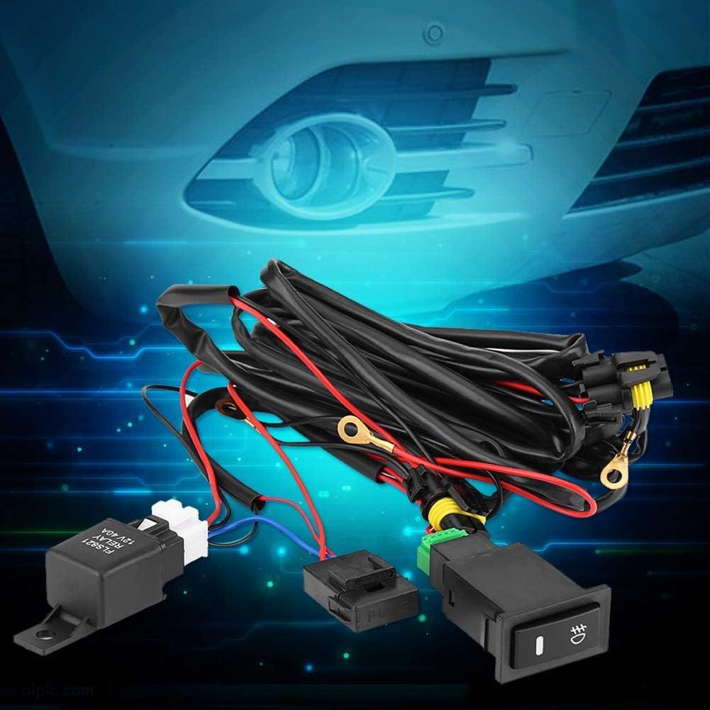 Interruptor de rel/é de cableado de niebla Kit de cableado de interruptor de luz antiniebla LED para coche de 12 V Kit de rel/é de fusible Pl/ástico impermeable universal