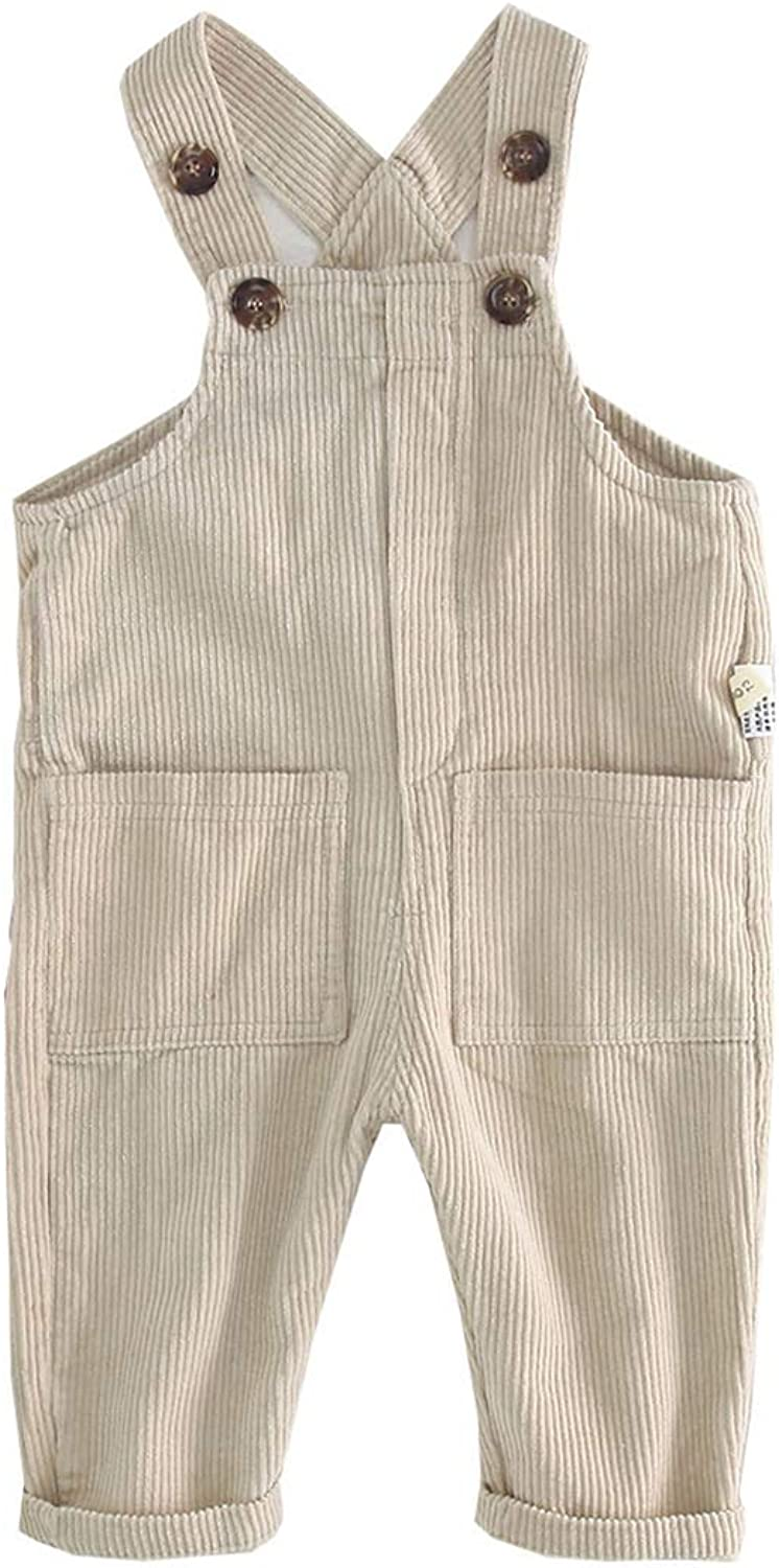 Fairy Baby Toddler Baby Unisex Casual Corduroy Bib Overall Solid Bottom Suspender Pants