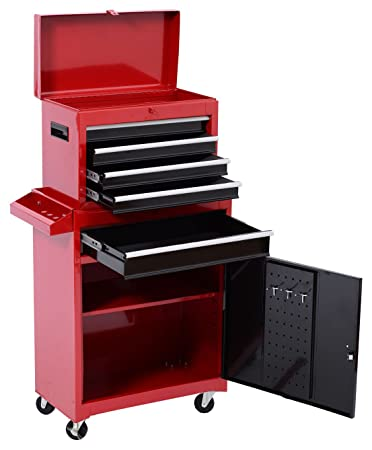 homcom 2 piece rolling tool cabinet storage set with 5 drawers and removable tool box