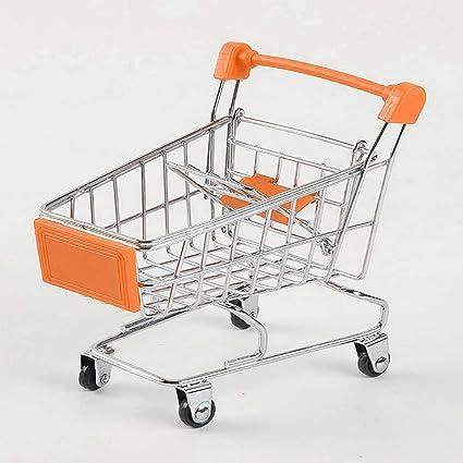 Delicacydex Supermercado Creativo Mini Carrito de Compras Trolley Metal Simulación Juguete para niños - Naranja