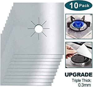 Square Stove Burner Covers, 10 Pack Non-stick Gas Range Protectors Liners, Stove Burner Liner Cover 10.6 in x10.6 in, Silver Stovetop Covers Double Thickness 0.3mm, Cuttable, Heat-resistant, Reusable