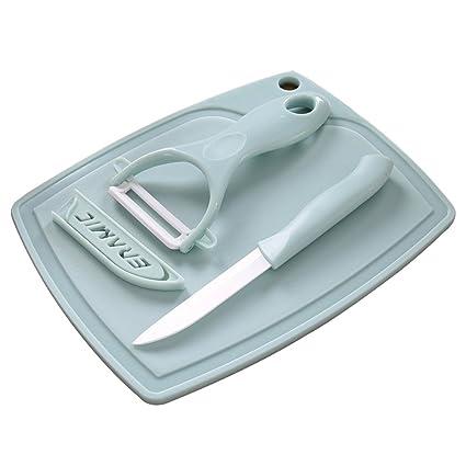 Kitchen Cutting Tools Ceramic Fruit Knife Vegetable Peel Chopping Board  3Pcs/Set (Blue)