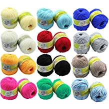 12 Skeins 50g Assorted Colors Baby Skein Knitting Cashmere Fiber Wool Yarn Ball Yarns