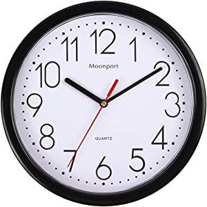 10 Inch Wall Clock ,Silent Non-Ticking Battery Operated Quartz Round Easy to Read for Home /Office/School Wall Clock-White