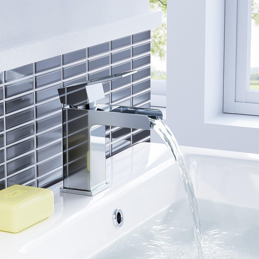 iBathUK | Modern Bathroom Waterfall Chrome Basin Mixer Tap + Waste TB3107S