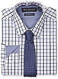 Nick Graham Mens Windowpane Dress Shirt with Tie Set