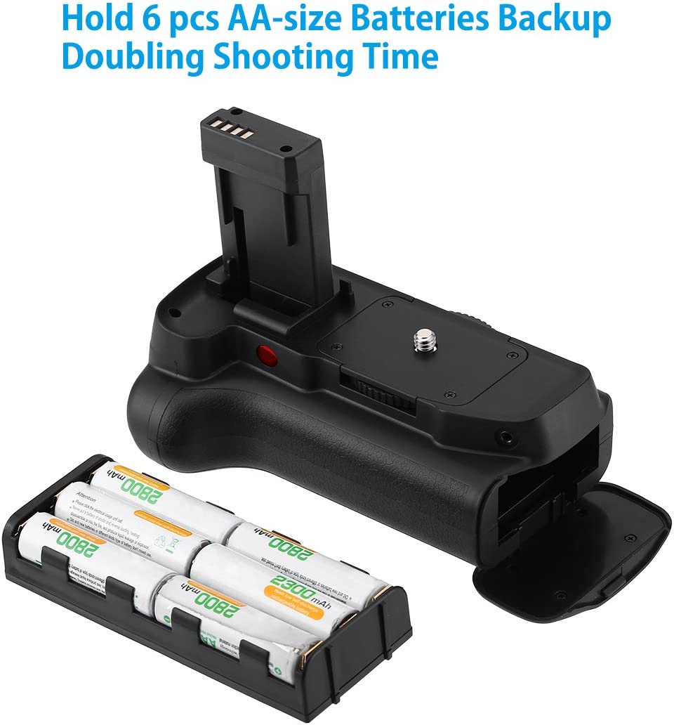 Powerextra Battery Grip AA-Size Battery Holder for Canon EOS 1100D 1200D 1300D//Rebel T3//T5//T6 with Infrared Remote Control Work with 2 Pcs LP-E10 or 6 AA-Size Batteries