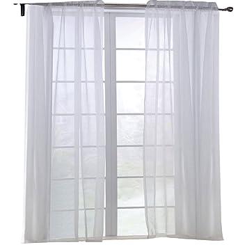 KEYNIS Vorhang Transparent Gardinen Wohnzimmer Voile Weiss 2er Set 140x245cm