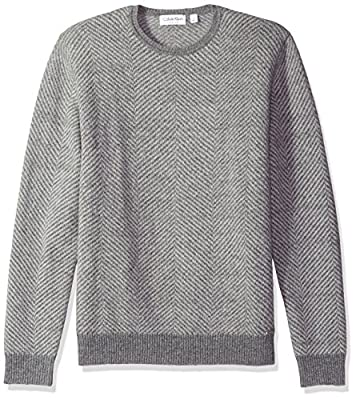 Calvin Klein Men's Herringbone Pattern Crew Neck Sweater