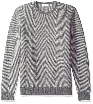Calvin Klein Men's Herringbone Pattern Crew Neck Sweater