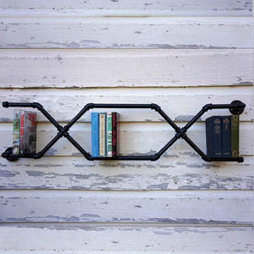 YUEQISONG Loft Bookshelf Iron Racks Industrial Water Pipe Shelves for Cafe Bar