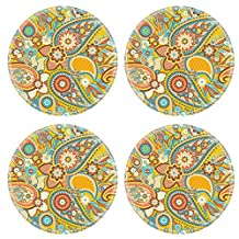 Liili natural rubber Round Coasters IMAGE ID: 19147697 Seamless pattern based on traditional Asian elements Paisley