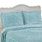 Collections Etc Calista Chenille Pillow Sham With Fringe Border, Turquoise, Sham
