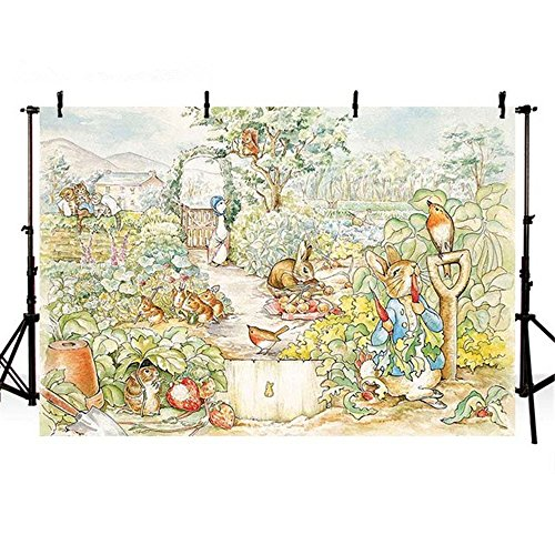 VV Photography Backdrop 7x5ft Peter Rabbit Backdrop for Kids Birthday Party Cartoon Children Photography Background Cloth Customized… ()