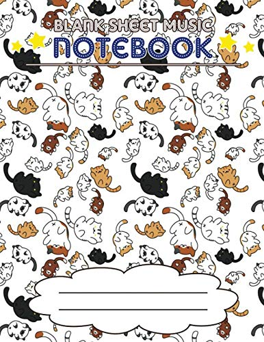 Blank Sheet Music Notebook: Wide Staff Manuscript Paper Notebook, 8 Large Staves Per Page (Cat World)
