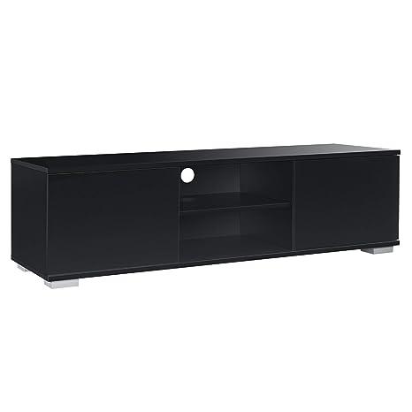 [en.casa] Fernsehtisch - Schwarz 34,5x120x40 cm - TV Lowboard Board Fernseher Schrank Unterschrank