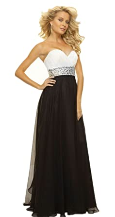 atopdress B8 BLACK WHITE EVENING prom sequined gown eveing dress (12, BLACK WHITE)
