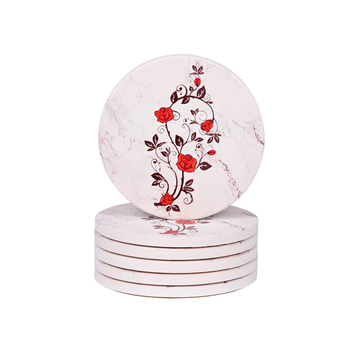 Drinks Coasters - Funny Absorbent Ceramic Rose Set of 6 White Marble Style with Cork Backing, Protects Furniture From Damage (Ceramic Rose)